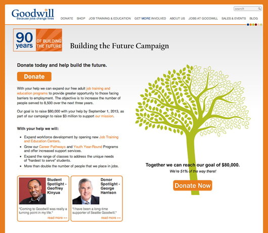 Financial Campaign Web Page